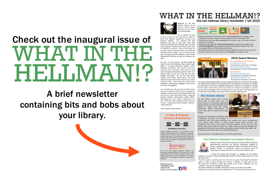 Click to read What in the Hellman? library newsletter