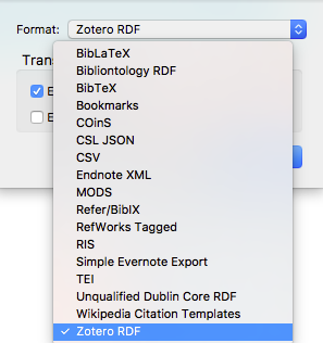 "Zotero ""Eport Library"" Drop-down menu shows several choices of format to export to. Here the RDF format is selected."