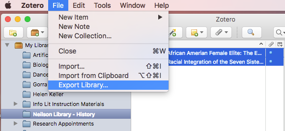 Zotero file menu is selected, drop-down menu is seen.