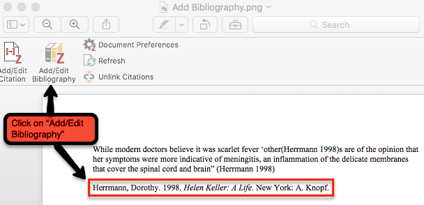 Zotero Word tool bar show with Add/Edit Bibliography selected. Bibliography is shown appearing in the Word document.