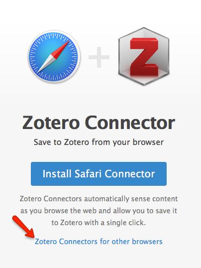 Zotero connectors dowload page