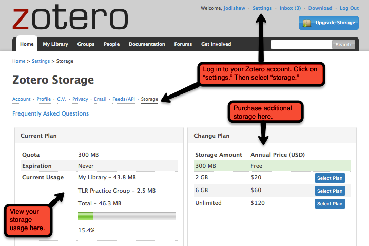 Zotero storage setting shown in user's web-based Zotero account.