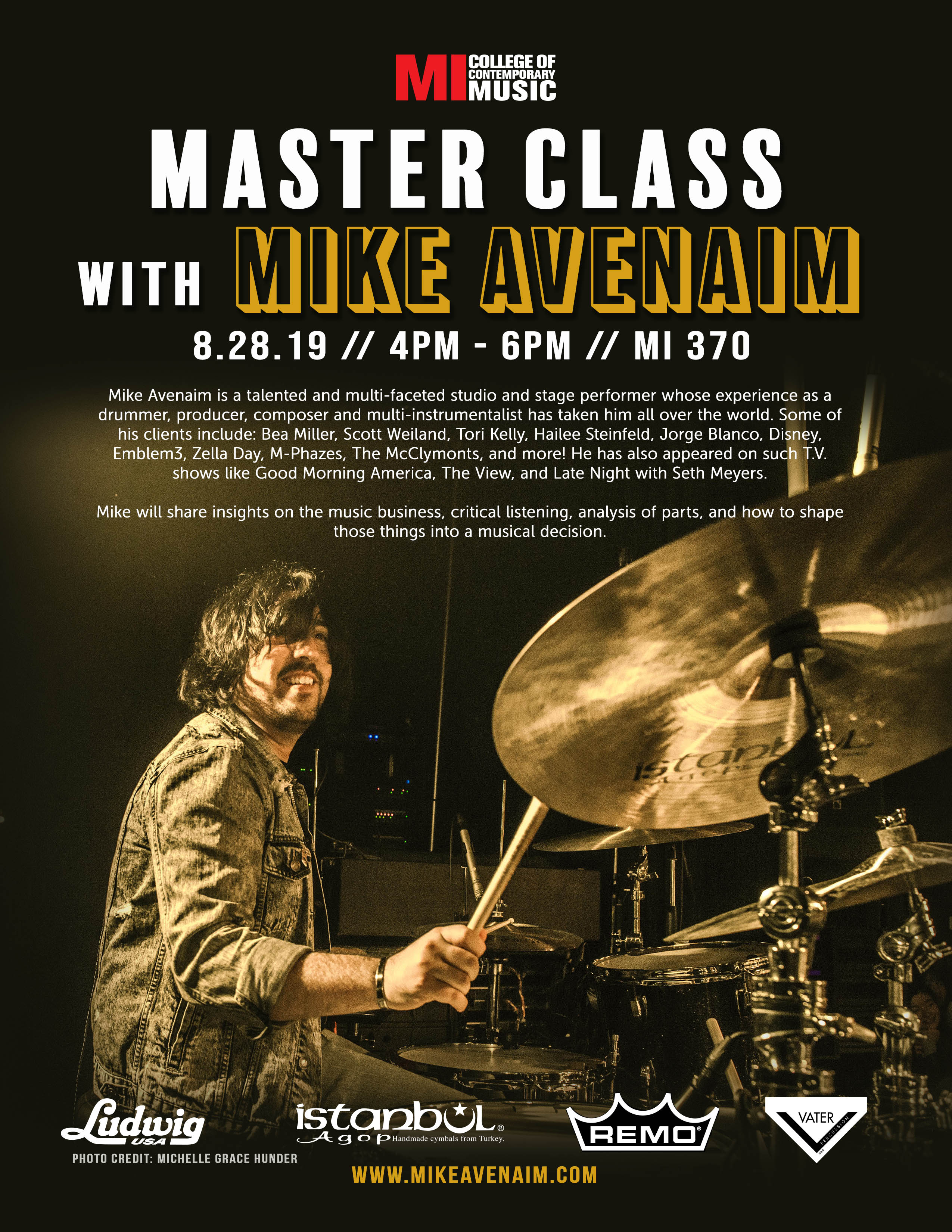 MASTERCLASS MIKE AVENAIM WEDNESDAY, AUGUST 28, 2019, 4 – 6PM