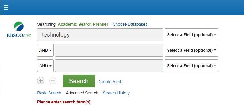 "Screenshot of database search bar with ""technology"" as a search term"