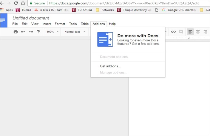 Access Google Docs Add-ons from a Google Doc