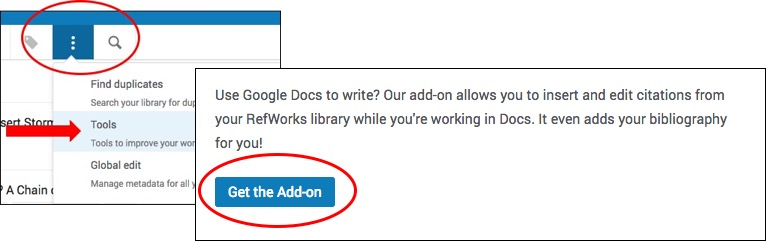 Click on Tools to access Google Docs Add-ons