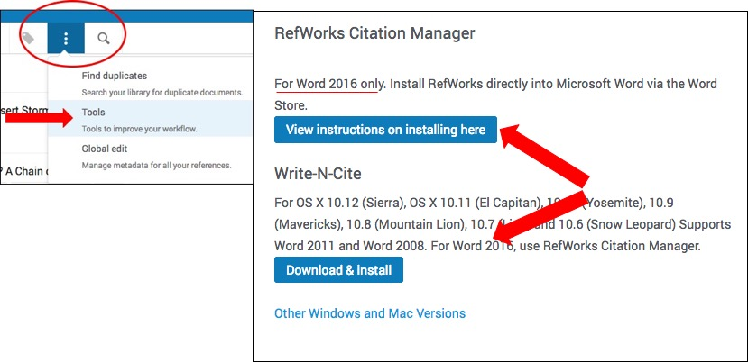 Integrate Refworks into Microsoft Word