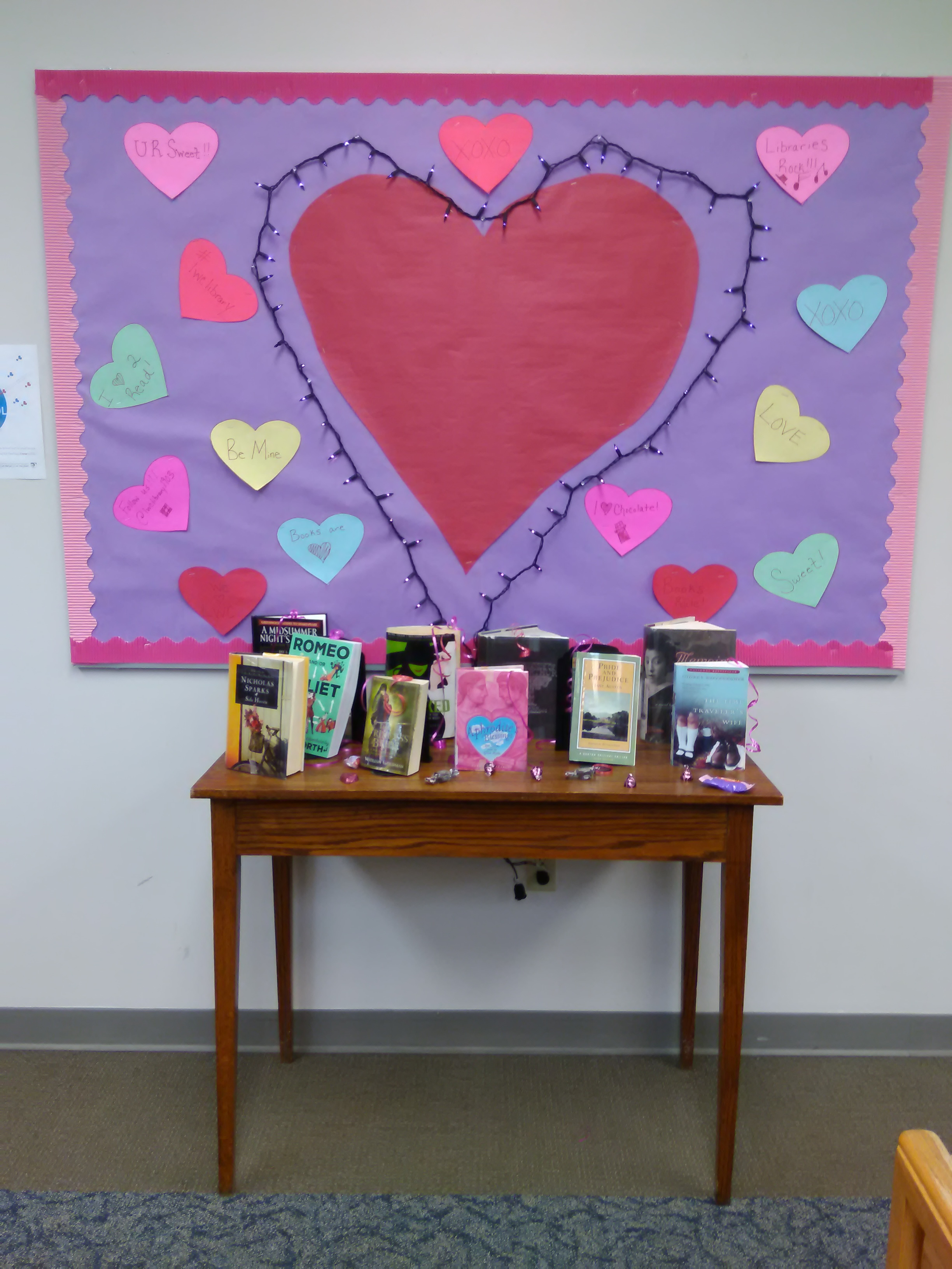 Valentine's Day Heart  display with books from our collection