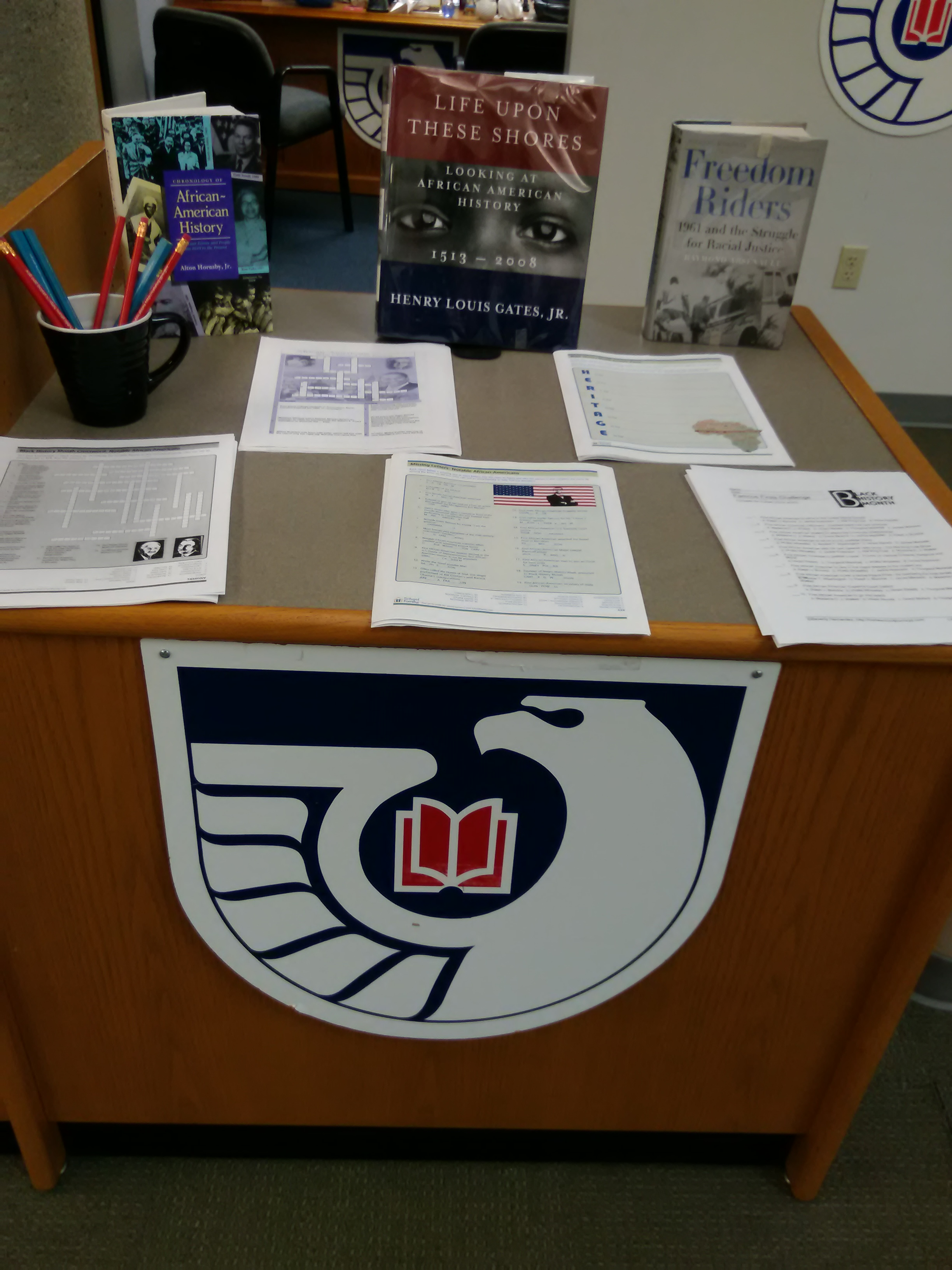 Black History Month display in Government Documents with books