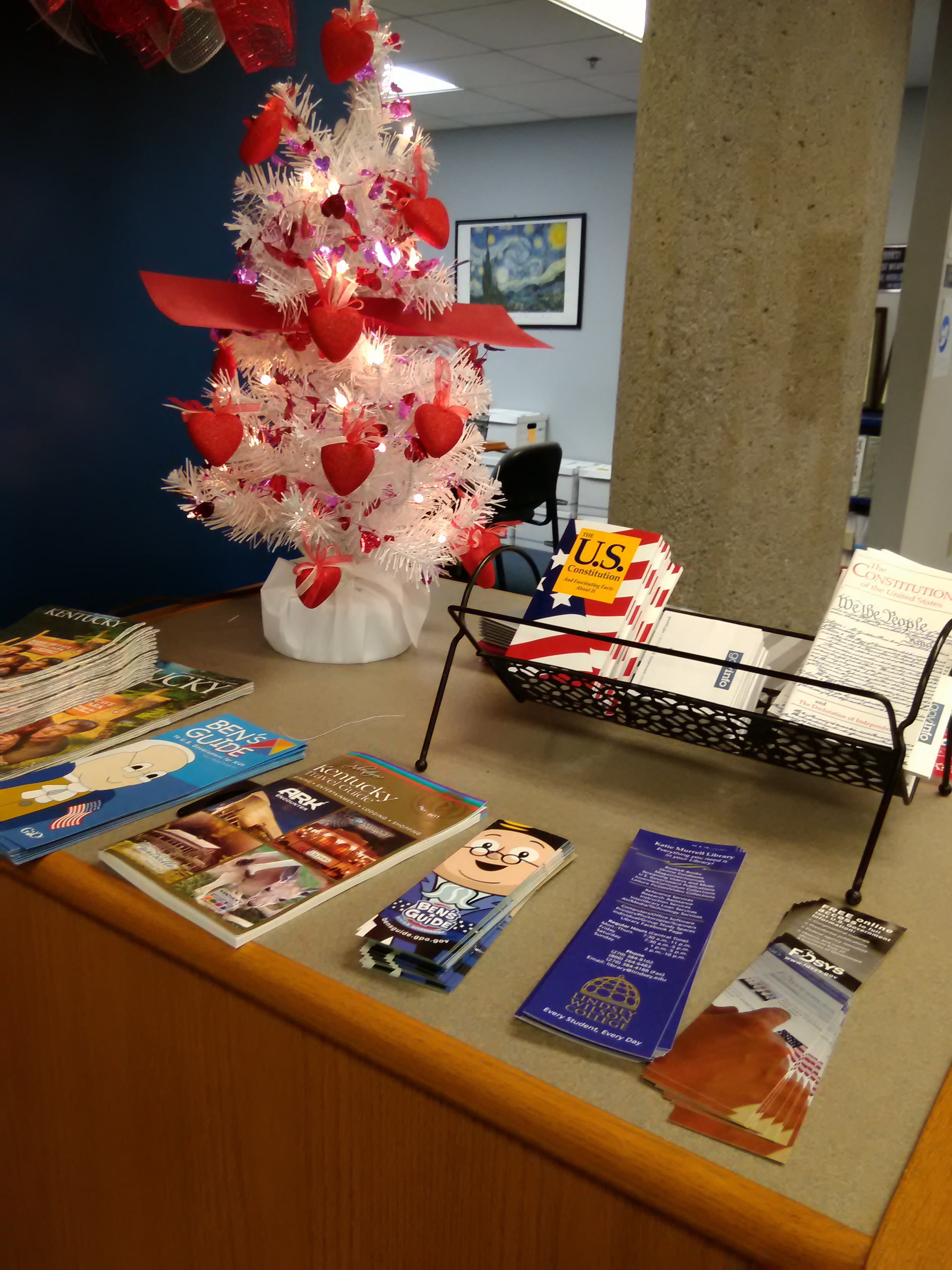 Valentine's tree and Government Documents display with pamphlets