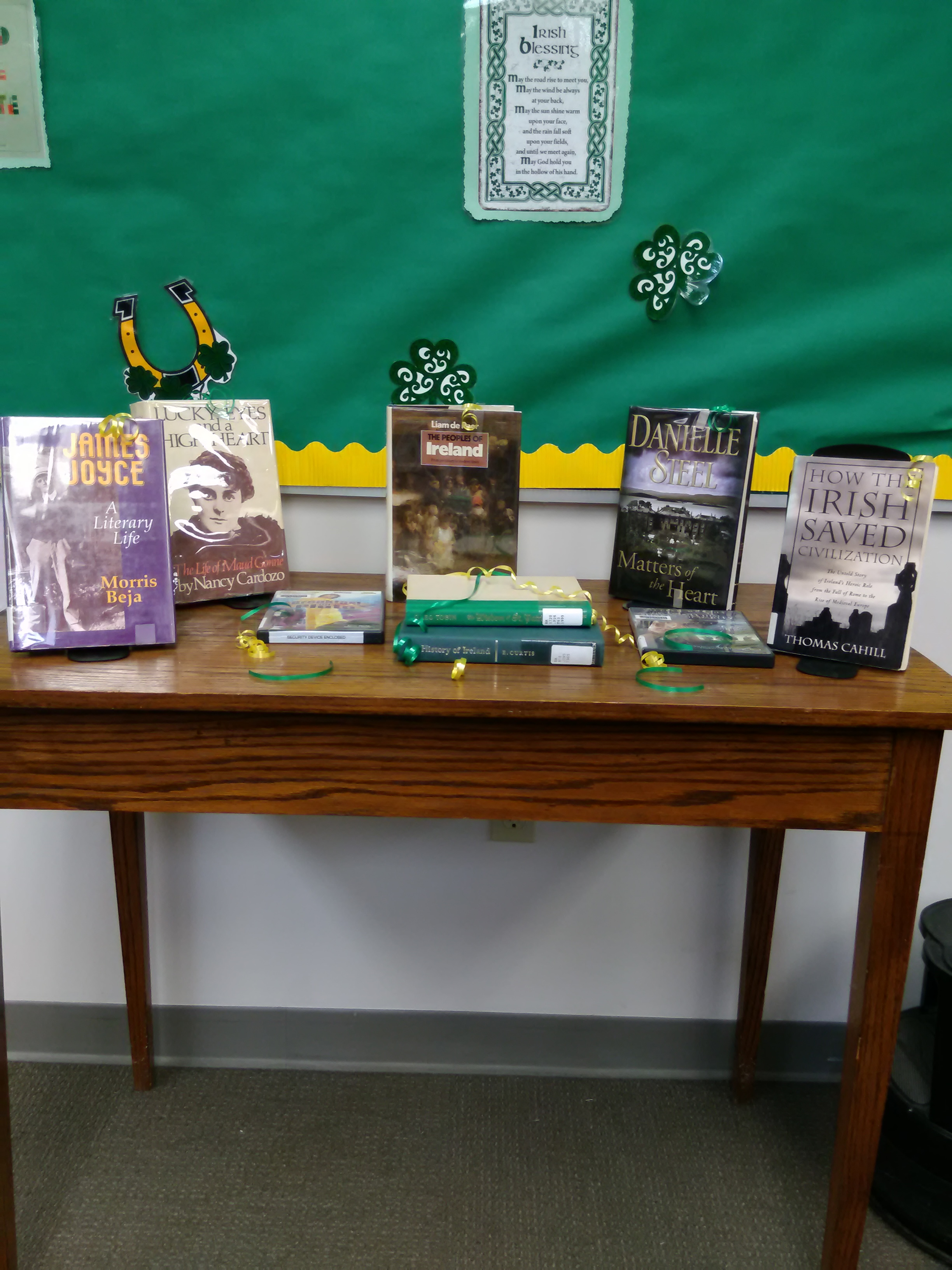 St. Patrick's Day display with books from KML collection