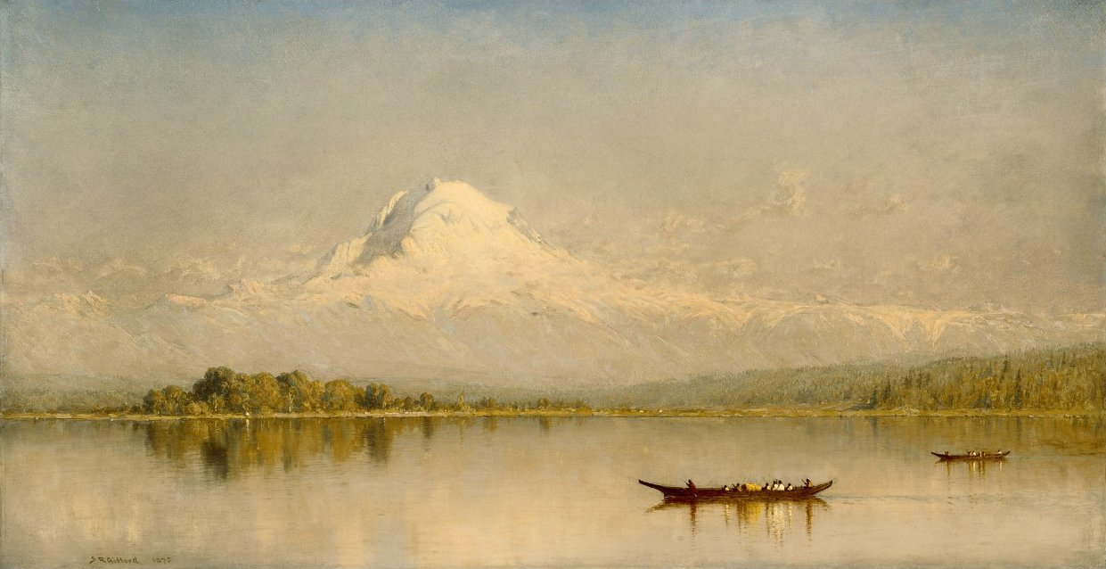 "Oil painting of ""Mount Rainier, Bay of Tacoma"" by Gifford Sanford Robinson."