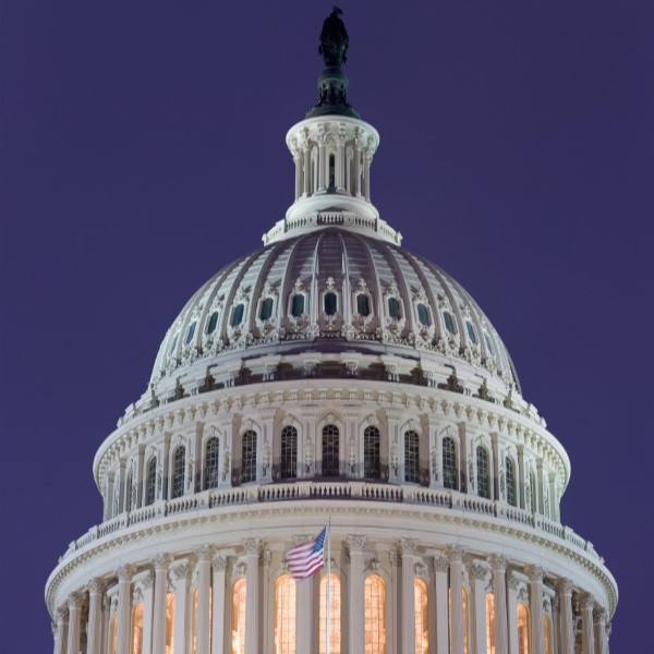 the dome of the US capitol building at night.
