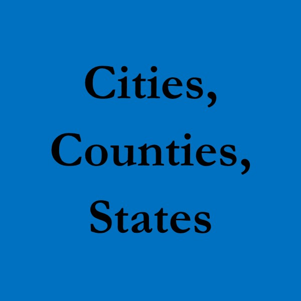 Cities, Counties, States (black text on blue ground)