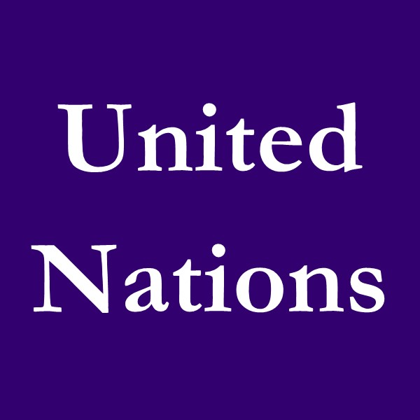 United Nations (white text on purple ground).