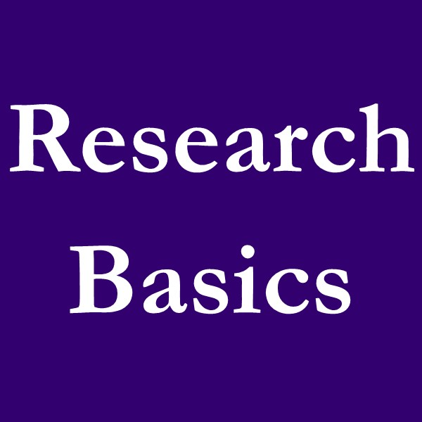 research basics (white text on purple ground).