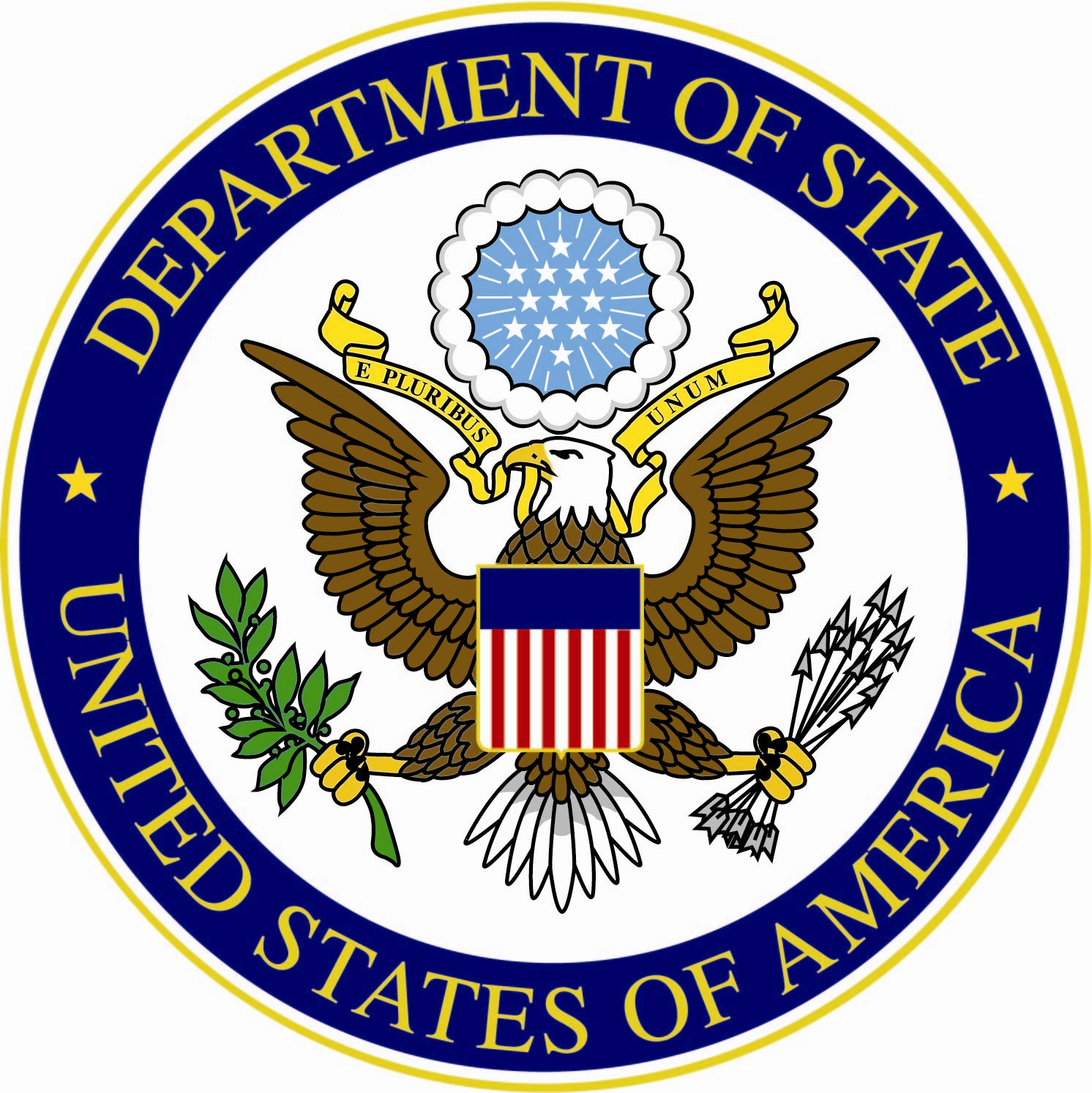 A circular medalion depicting the Department of State Logo surrounded by the agency name. The logo is an eagle with an american flag shield over its torso clutching a branch and some arrows.