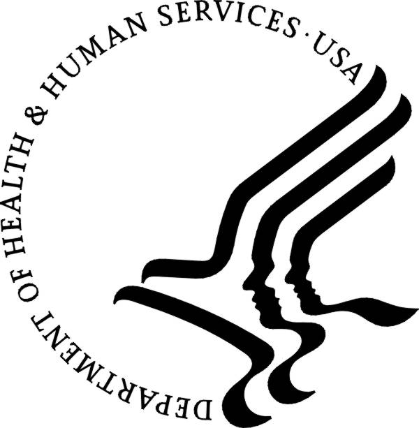 A circular logo with the agency name running along 3/4 of the outside. The remaining quarter is taken up by a stylized black and white linework eagle with two human profiles overlaid.