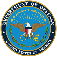 A circular medalion with the Department of Defense seal, which depicts the American eagle with a shield styled after the American flag and three golden arrows encircled by the agency name.