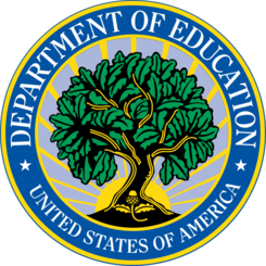 A circular medalion with the Department of Education seal which depicts a tree and its seed surrounded by radiant sunlight encircled by the agency name.