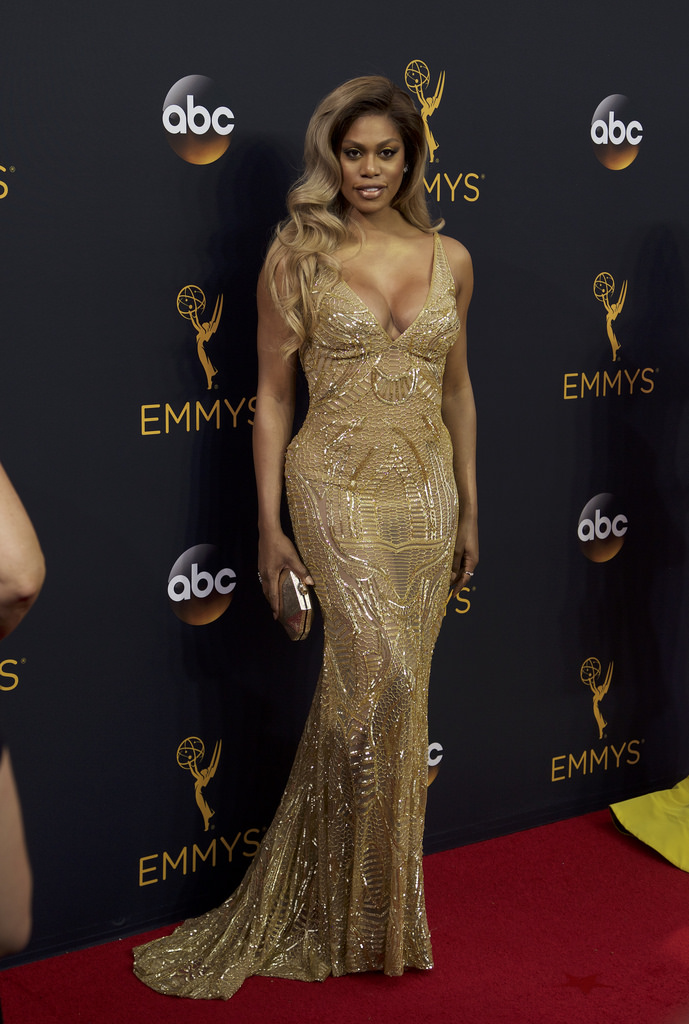 Laverne Cox poses on the red carpet