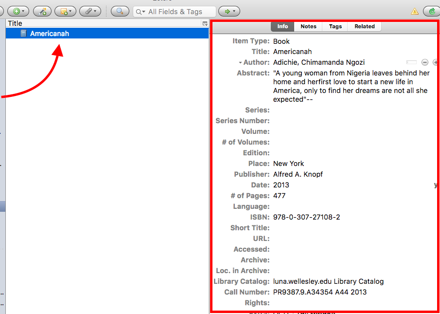 Zotero item record screenshot with arrows