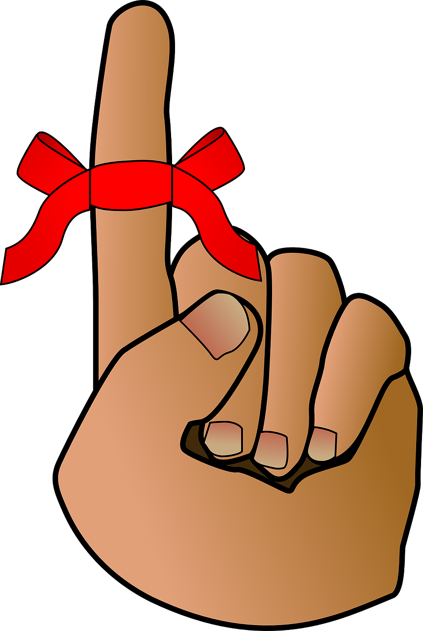 Illustration of a finger with a don't-forget-ribbon attached.