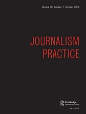 Journalism Practice journal cover, black with red text.