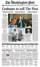 Frontpage of The Washington Post with the headline: Grahams to sell The Post.
