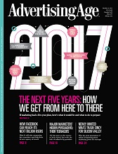 Cover of Advertising Age magazine with headline: 2017, The next five years: how we get from here to there.