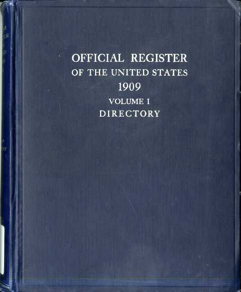 "Cover of a blue volume with ""Official Register of the United States, 1909, Volume I, Directory"" written in white."