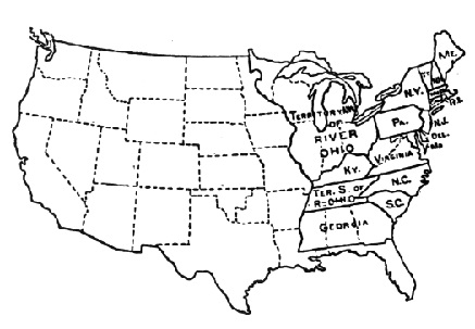 A black and white map of the areas of the United States with the areas covered by the 1790 census written by name or territory.