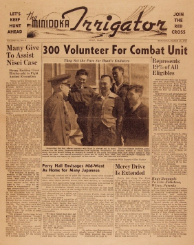 Frontpage of The Minidoka Irrigator with the headline: 300 Volunteer For Combat Unit.