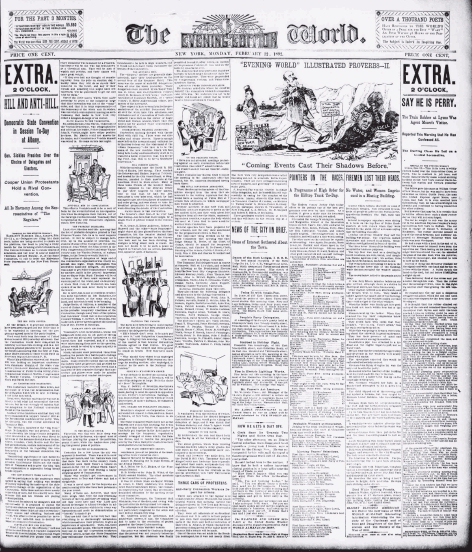 "Black and white image of the frontpage of ""The World"" newspaper from February 22nd, 1892."