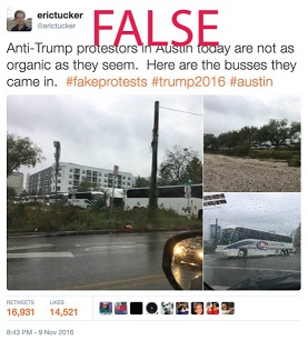 A screenshot of a tweet about anti-Trump protesters arriving on buses with the word FALSE above the image in red.
