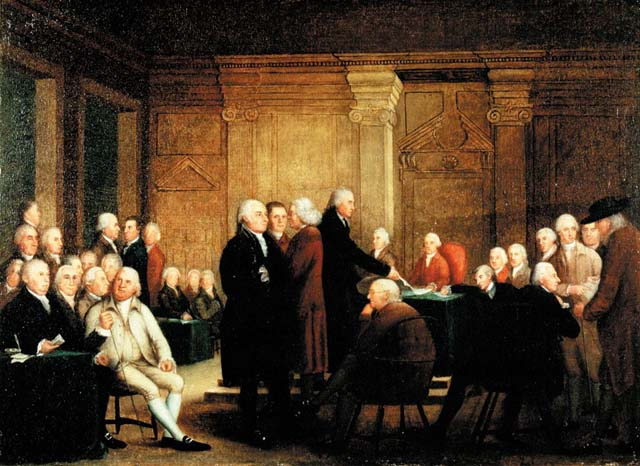 Painting of a large group of white men sitting or standing in a room.