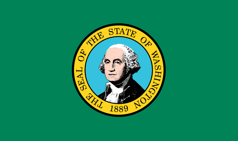The Washington State flag, has a green background with portrait of George Washington in the center and surrounded by a gold circle reading Seal of the State of Washington 1889.