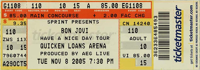 Bon Jovi ticket stub