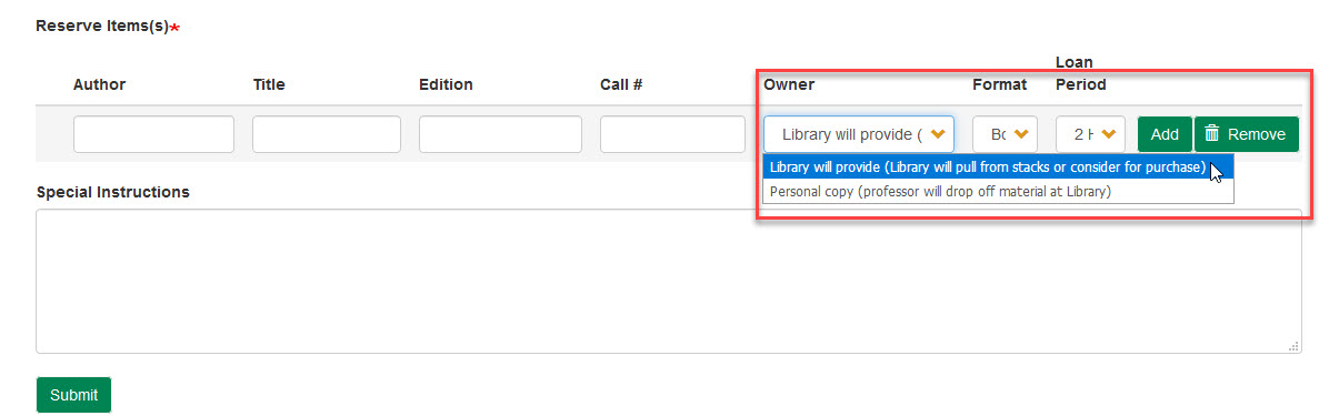 Image of course reserve request form owner drop down menu.