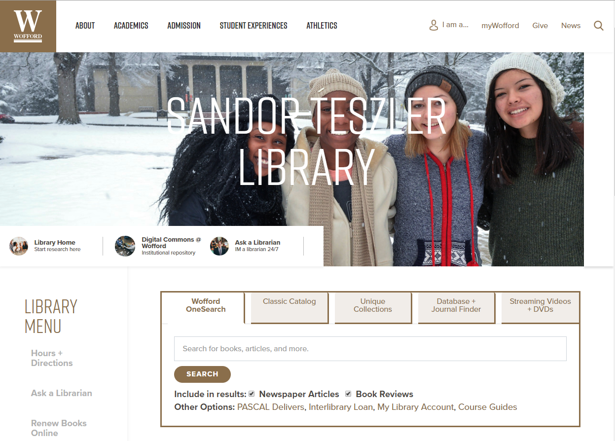 The Wofford library homepage. Under the large header image, the OneSearch box is in the middle of the page.