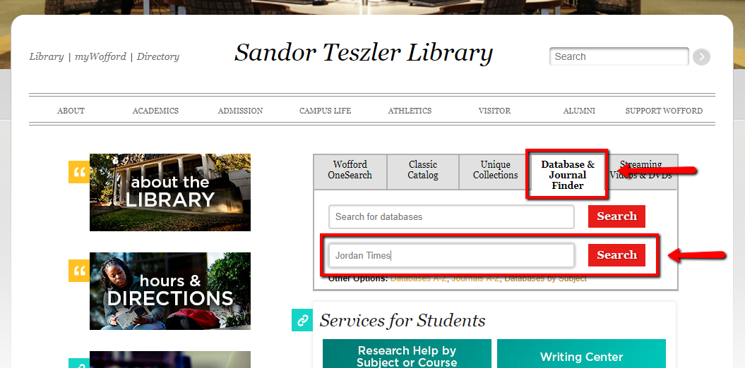 "The library homepage is pictured, and the Database and Journal Finder tab is highlighted. The title ""Jordan Times"" is typed into the journal field."