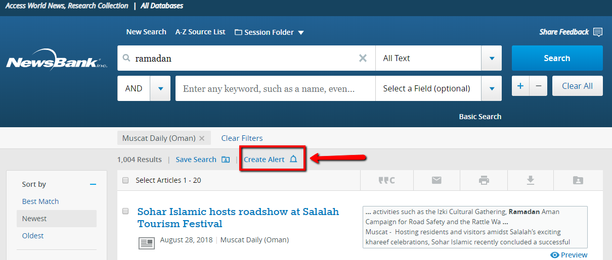 "The search result page is pictured, with the ""Create Alert"" link highlighted above the search results."