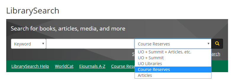 "Screenshot of LibrarySearch homepage of how to select ""Course Reserves"""