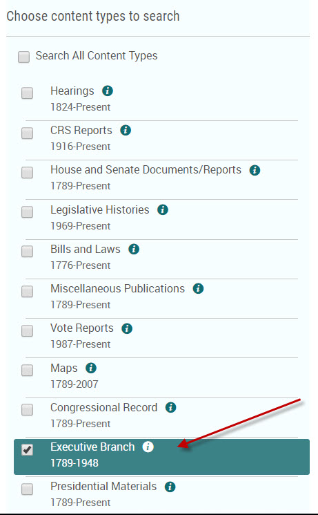 Search box for Executive Orders