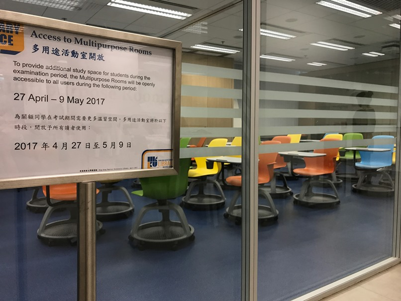 Image of the Multipurpose Rooms including the notice that they are open to all users between 27 April and 9 May