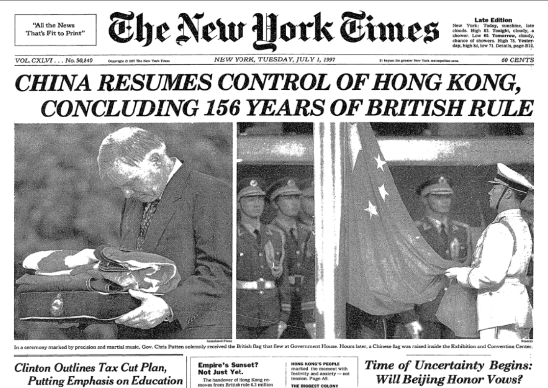 Front page of New York Times, 1 July 1997