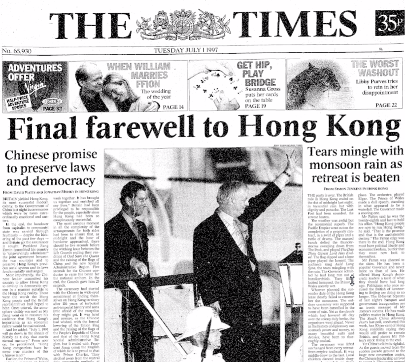 Front page of the Times, 1 July 1997