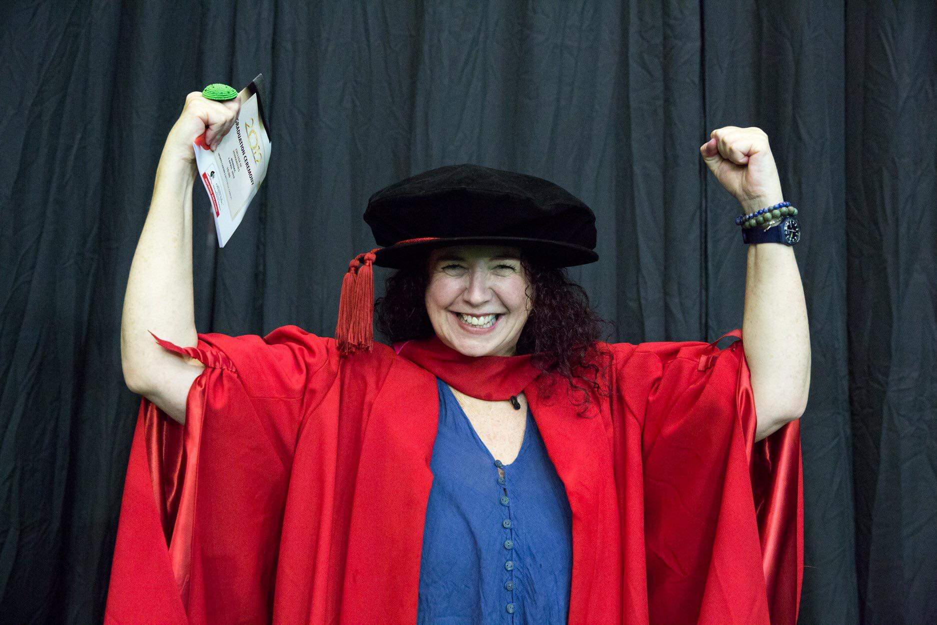 Dr Lliane Loots Rejuvenated & dancing on stage for her PhD graduation