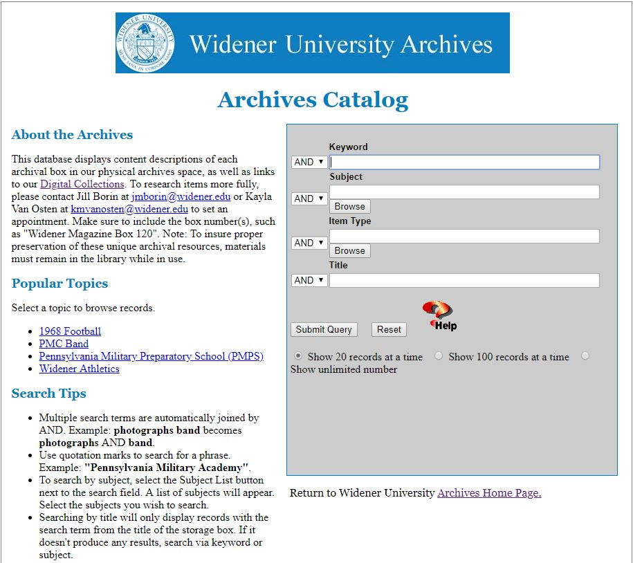 Image of the Widener University Archives Catalog home page