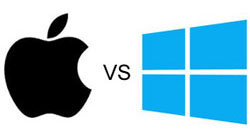 Apple logo and Windows logo with word abbreviation vs for versus in between them